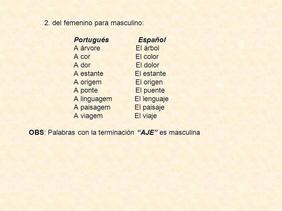 2. del femenino para masculino: Portugués Español A árvore El árbol A cor El color A dor El dolor A estante El estante A origem El origen A ponte El p