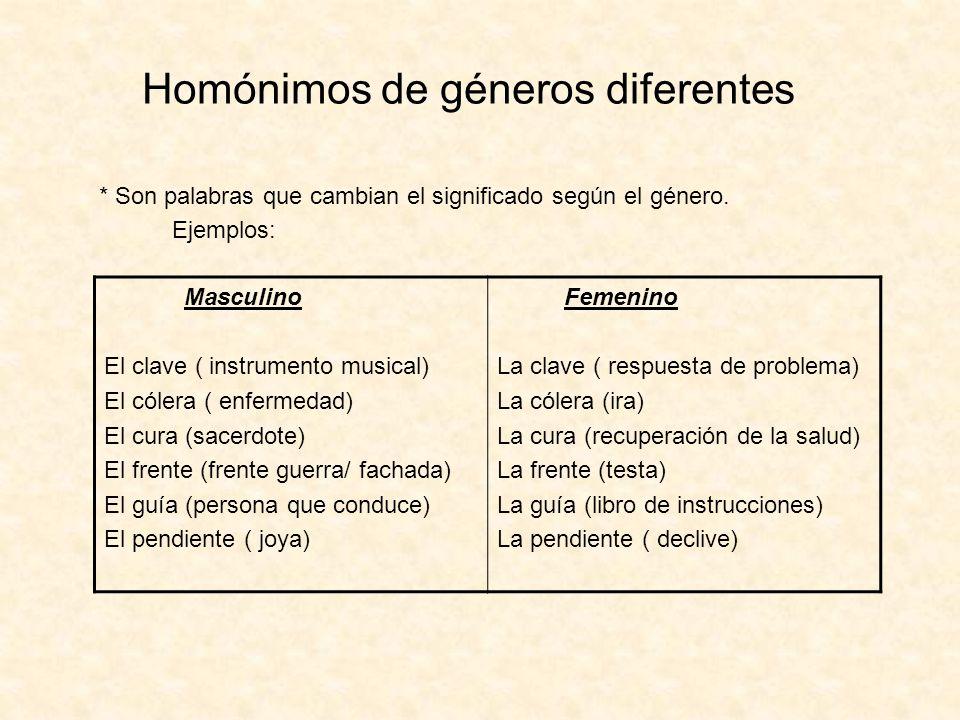 Homónimos de géneros diferentes * Son palabras que cambian el significado según el género. Ejemplos: Masculino El clave ( instrumento musical) El cóle