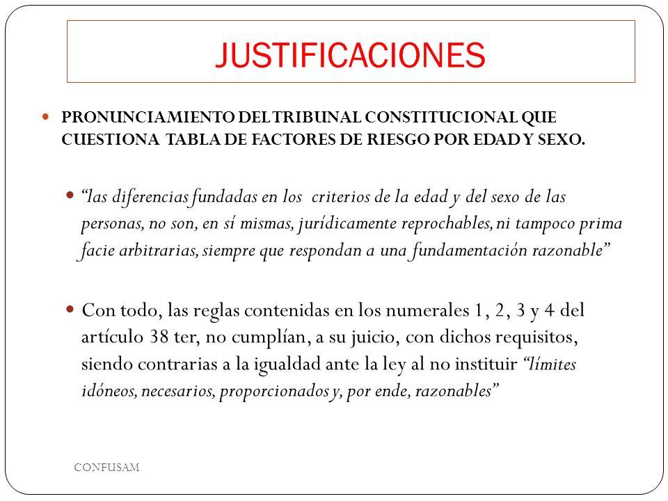 JUSTIFICACIONES PRONUNCIAMIENTO DEL TRIBUNAL CONSTITUCIONAL QUE CUESTIONA TABLA DE FACTORES DE RIESGO POR EDAD Y SEXO. las diferencias fundadas en los
