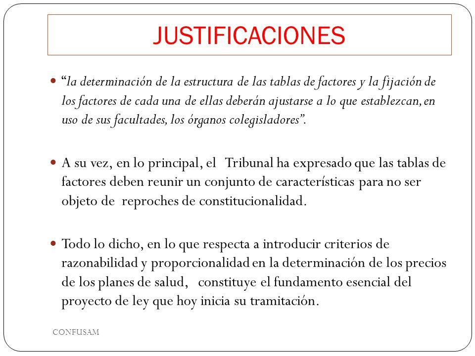 JUSTIFICACIONES la determinación de la estructura de las tablas de factores y la fijación de los factores de cada una de ellas deberán ajustarse a lo