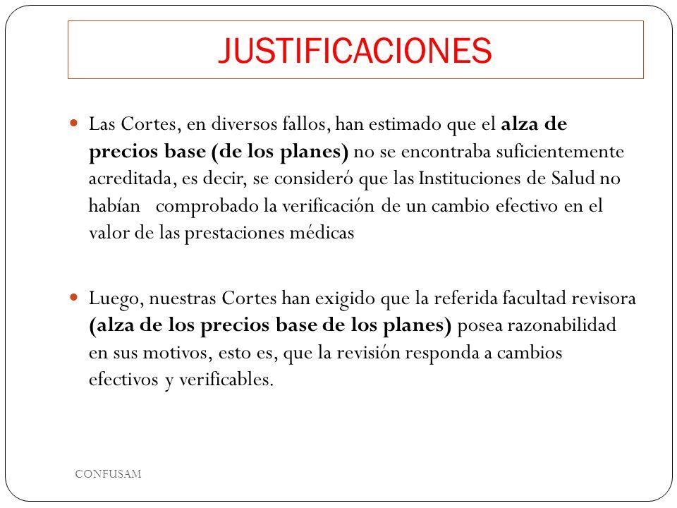 JUSTIFICACIONES Las Cortes, en diversos fallos, han estimado que el alza de precios base (de los planes) no se encontraba suficientemente acreditada, es decir, se consideró que las Instituciones de Salud no habían comprobado la verificación de un cambio efectivo en el valor de las prestaciones médicas Luego, nuestras Cortes han exigido que la referida facultad revisora (alza de los precios base de los planes) posea razonabilidad en sus motivos, esto es, que la revisión responda a cambios efectivos y verificables.