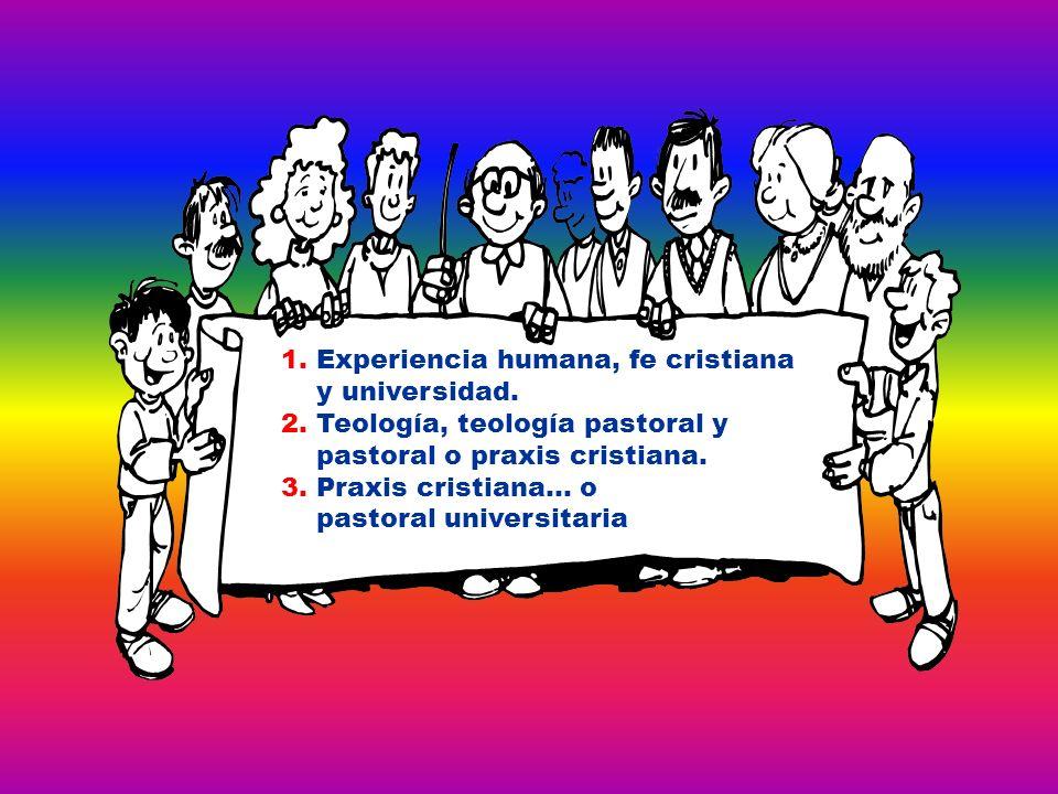 1. Experiencia humana, fe cristiana y universidad. 2. Teología, teología pastoral y pastoral o praxis cristiana. 3. Praxis cristiana… o pastoral unive