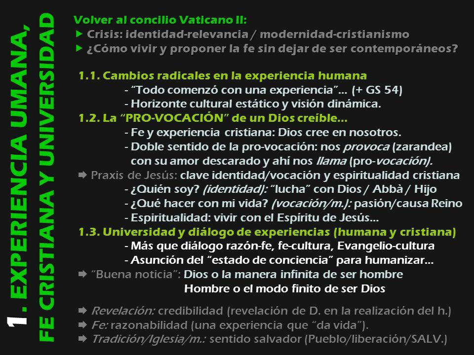 1. EXPERIENCIA UMANA, FE CRISTIANA Y UNIVERSIDAD Volver al concilio Vaticano II: Crisis: identidad-relevancia / modernidad-cristianismo Crisis: identi