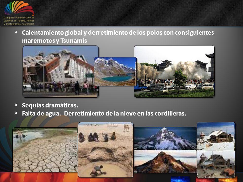 Calentamiento global y derretimiento de los polos con consiguientes maremotos y Tsunamis Sequías dramáticas. Falta de agua. Derretimiento de la nieve