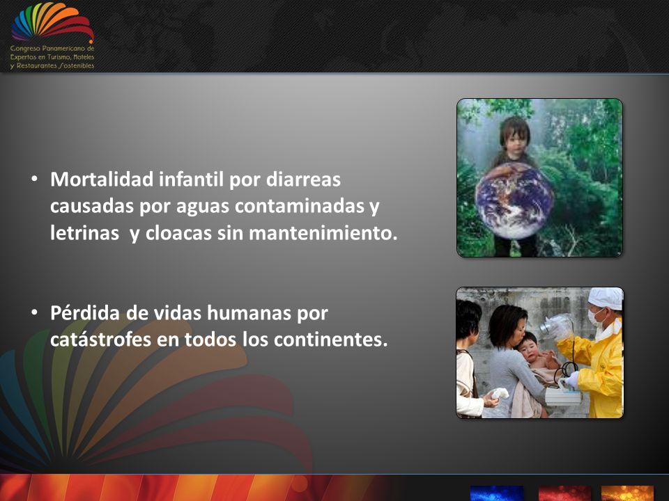 Mortalidad infantil por diarreas causadas por aguas contaminadas y letrinas y cloacas sin mantenimiento. Pérdida de vidas humanas por catástrofes en t