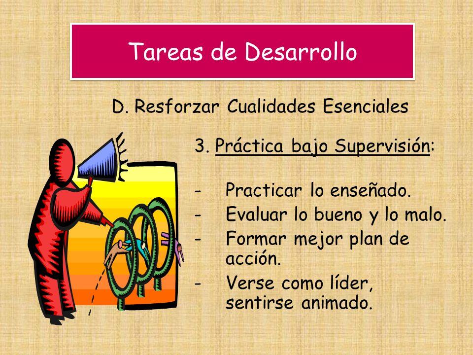 Tareas de Desarrollo D. Resforzar Cualidades Esenciales 3. Práctica bajo Supervisión: -Practicar lo enseñado. -Evaluar lo bueno y lo malo. -Formar mej