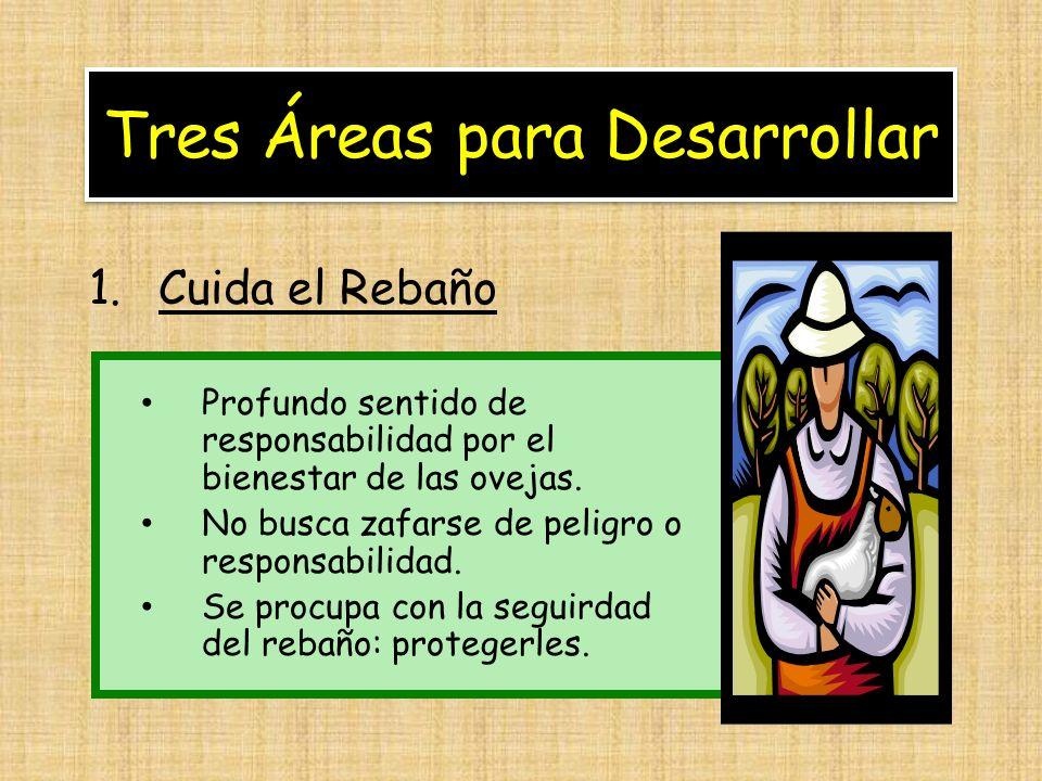 Tres Áreas para Desarrollar 1.Cuida el Rebaño Profundo sentido de responsabilidad por el bienestar de las ovejas. No busca zafarse de peligro o respon