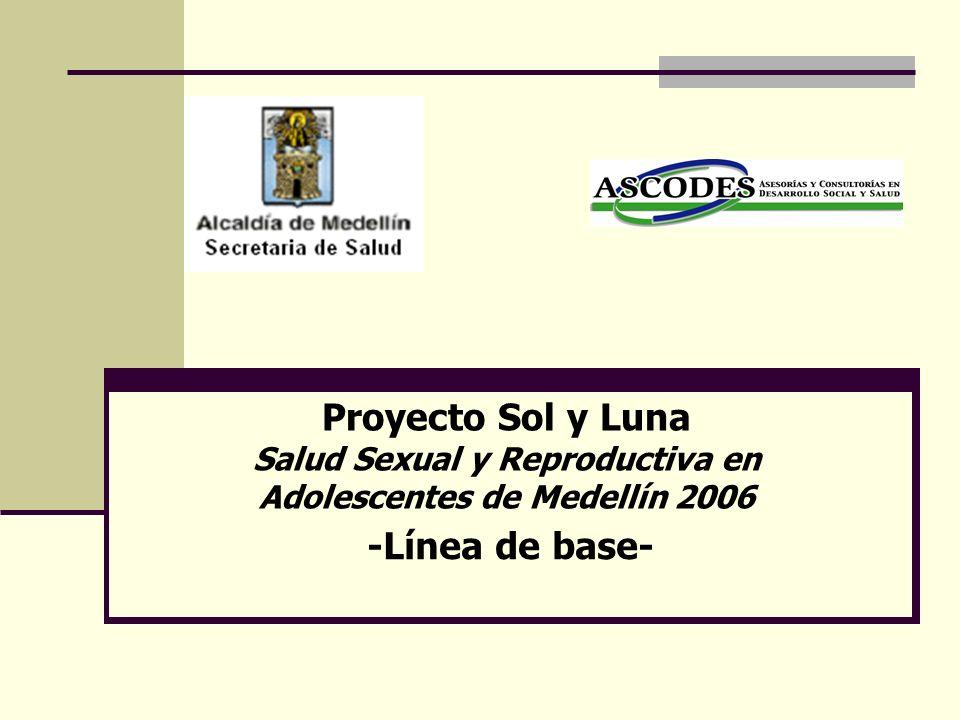 Proyecto Sol y Luna Salud Sexual y Reproductiva en Adolescentes de Medellín 2006 -Línea de base-