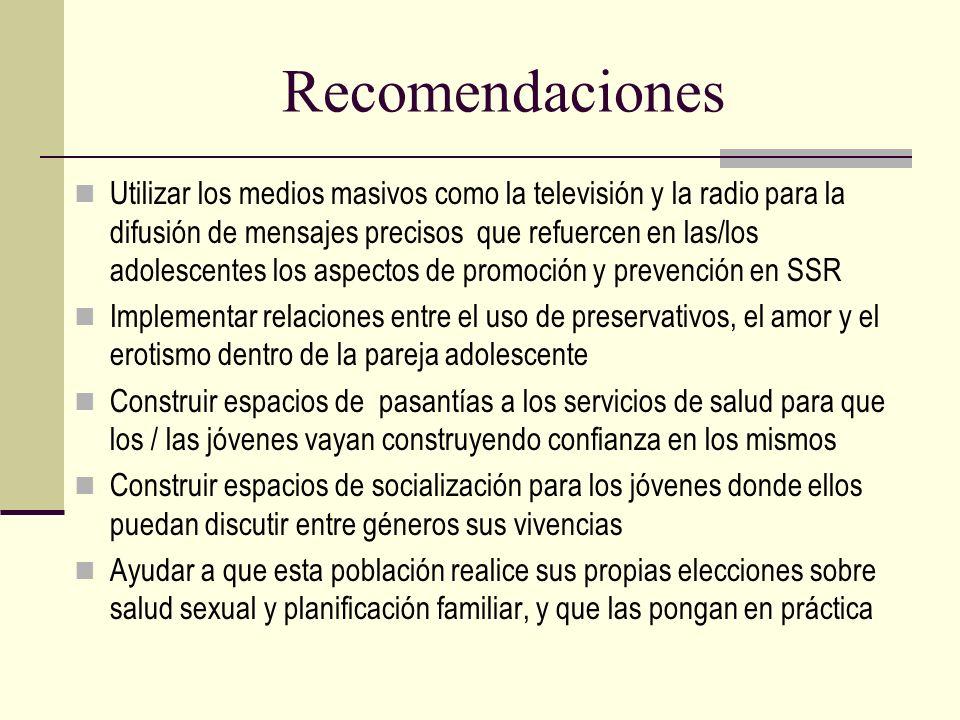 Recomendaciones Utilizar los medios masivos como la televisión y la radio para la difusión de mensajes precisos que refuercen en las/los adolescentes