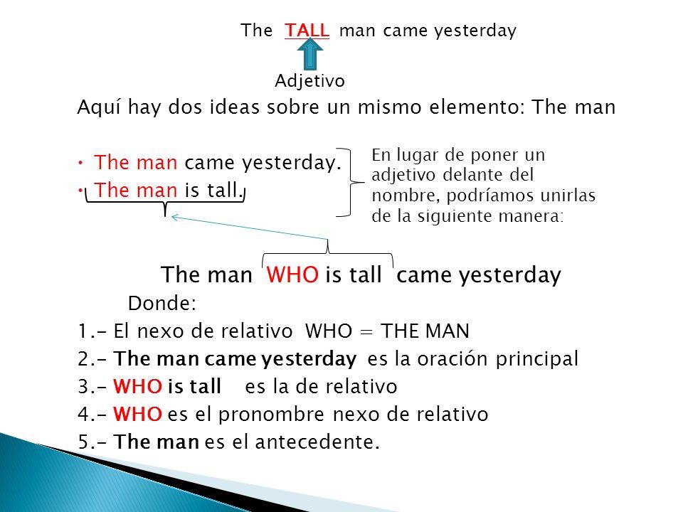The TALL man came yesterday Adjetivo Aquí hay dos ideas sobre un mismo elemento: The man The man came yesterday. The man is tall. The man WHO is tall