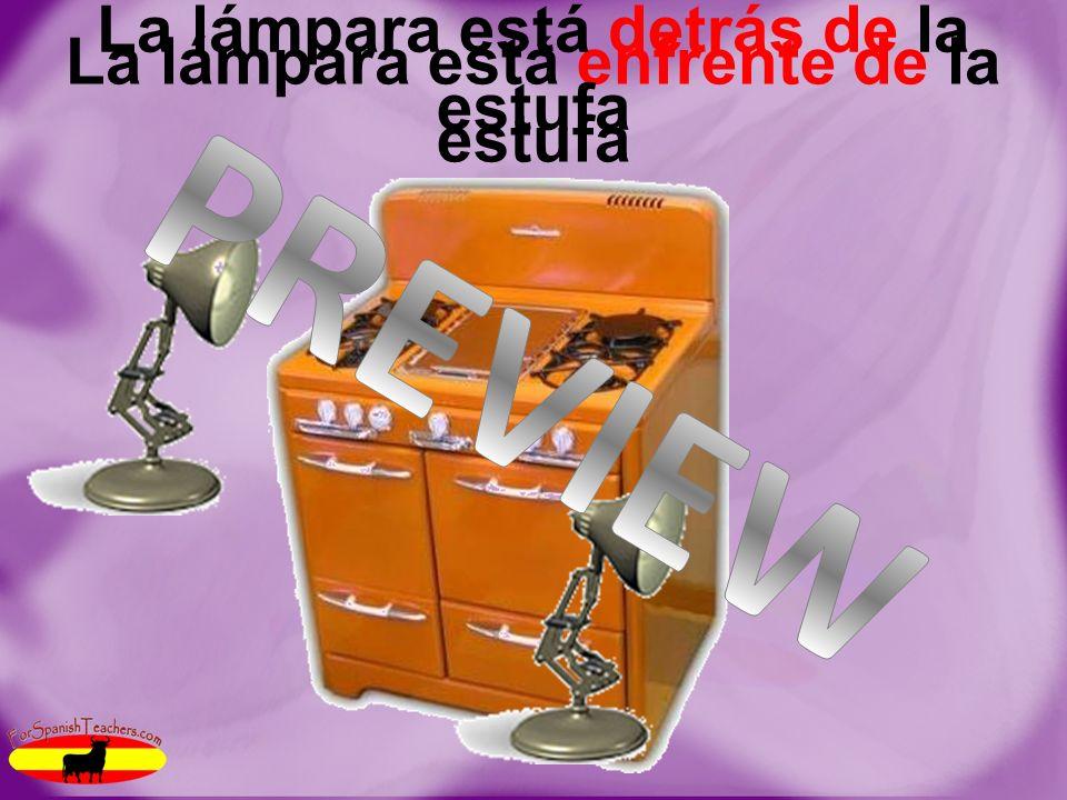 Las preposiciones Estoy adentro de la secadora Pedro está afuera de la caja La pintura está a la derecha de/a laizquierda de El estante está al lado de/cerca de la ducha La lámpara está enfrente de/detrás de la estufa La lavadora está encima de/debajo del inodoro Las teles están entre los sillones