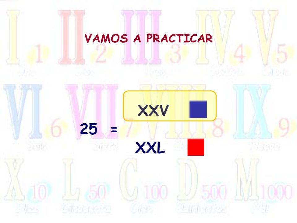 VAMOS A PRACTICAR 25= XXV XXL
