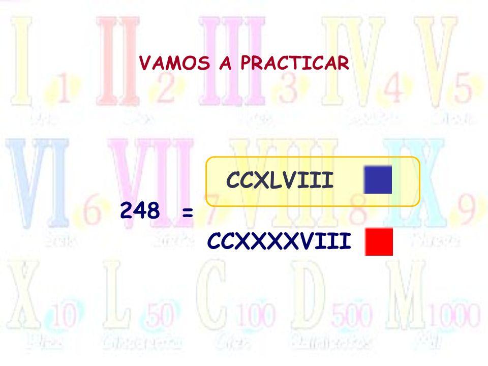 VAMOS A PRACTICAR 248 = CCXLVIII CCXXXXVIII