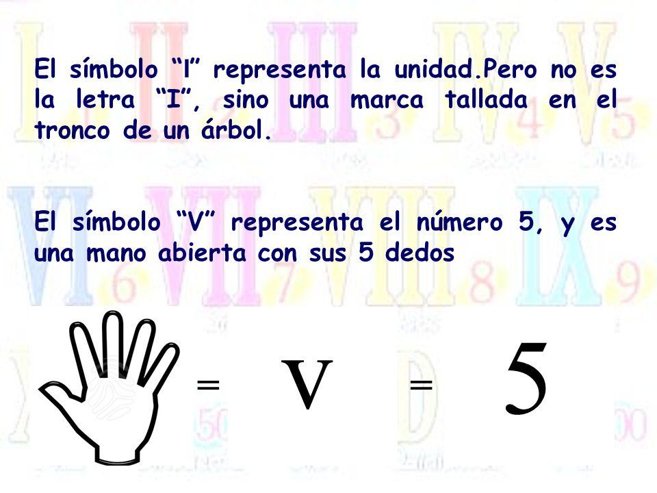 El símbolo I representa la unidad.Pero no es la letra I, sino una marca tallada en el tronco de un árbol. El símbolo V representa el número 5, y es un