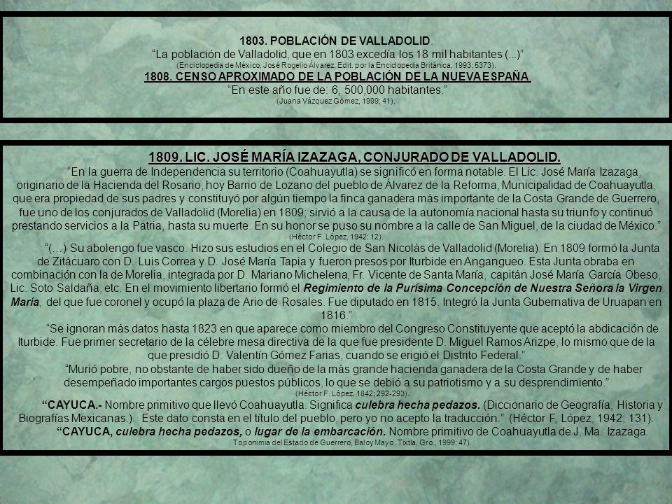 CAPITULO VIII (1800 – 1899) AL INICIO DE LA INDEPENDENCIA, ZACATULA, FUE UNA REGIÓN DE IMPORTANCIA PARA EL NACIMIENTO DEL EJÉRCITO DE MORELOS. 14