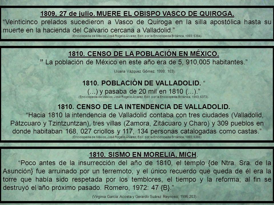 1809, 27 de julio.MUERE EL OBISPO VASCO DE QUIROGA.