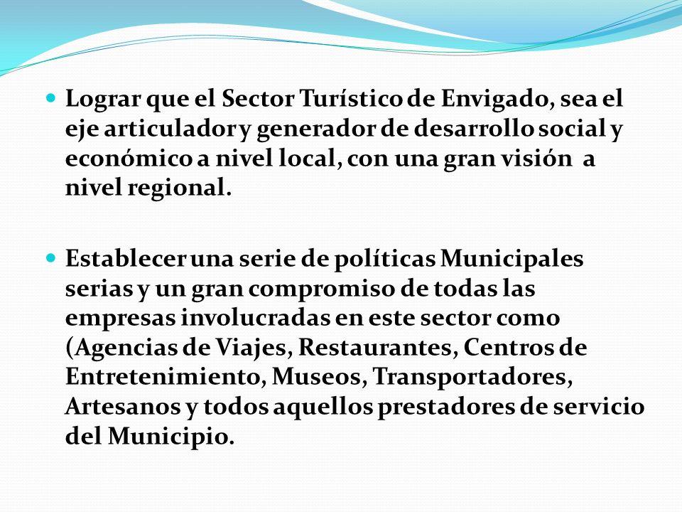 Lograr que el Sector Turístico de Envigado, sea el eje articulador y generador de desarrollo social y económico a nivel local, con una gran visión a n