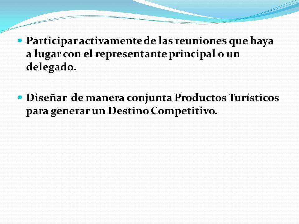 Participar activamente de las reuniones que haya a lugar con el representante principal o un delegado. Diseñar de manera conjunta Productos Turísticos