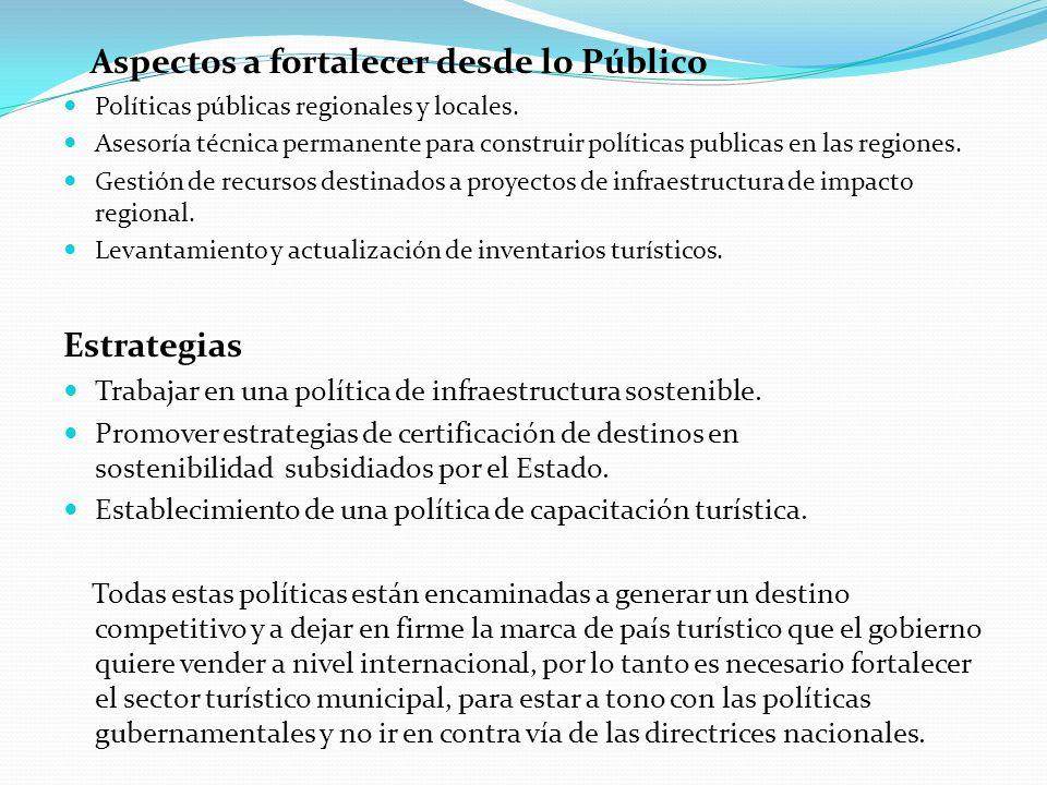 Aspectos a fortalecer desde lo Público Políticas públicas regionales y locales. Asesoría técnica permanente para construir políticas publicas en las r