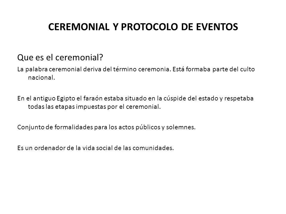 CEREMONIAL Y PROTOCOLO DE EVENTOS Que es el ceremonial.
