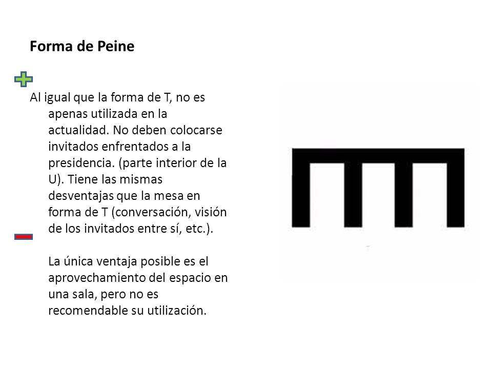 Forma de Peine Al igual que la forma de T, no es apenas utilizada en la actualidad.