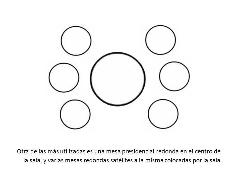 Otra de las más utilizadas es una mesa presidencial redonda en el centro de la sala, y varias mesas redondas satélites a la misma colocadas por la sala.