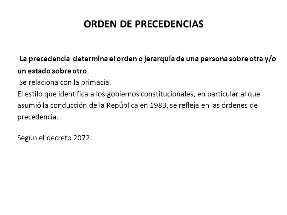 ORDEN DE PRECEDENCIAS La precedencia determina el orden o jerarquía de una persona sobre otra y/o un estado sobre otro.