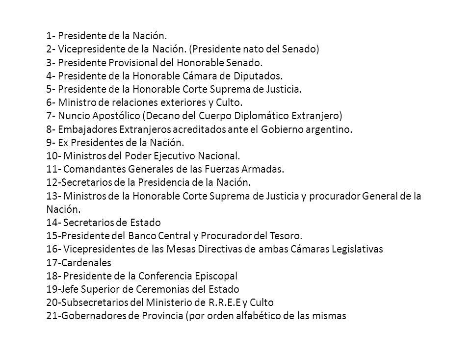1- Presidente de la Nación.2- Vicepresidente de la Nación.
