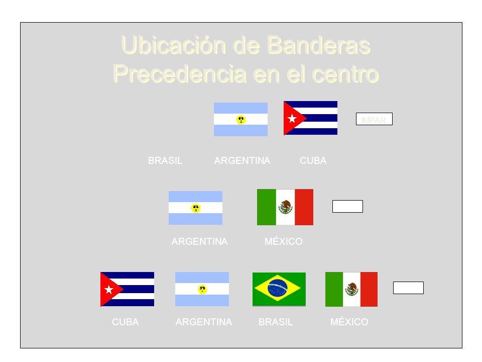 IMPAR BRASIL ARGENTINA CUBA PAR CUBA ARGENTINA BRASIL MÉXICO PAR ARGENTINA MÉXICO Ubicación de Banderas Precedencia en el centro