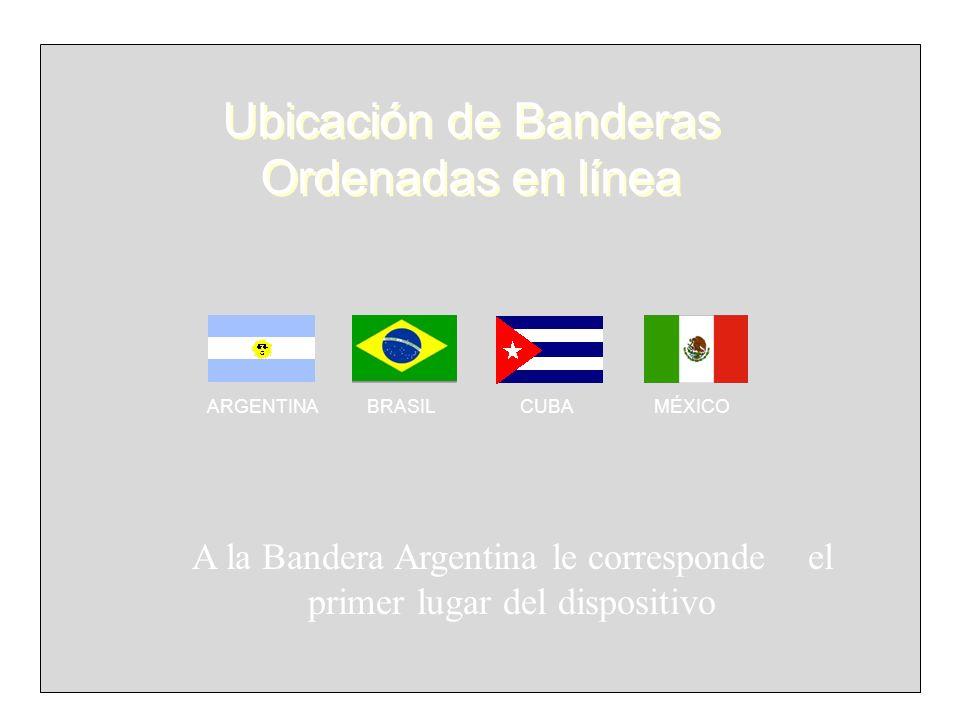 ARGENTINA BRASIL CUBA MÉXICO Ubicación de Banderas Ordenadas en línea A la Bandera Argentina le corresponde el primer lugar del dispositivo