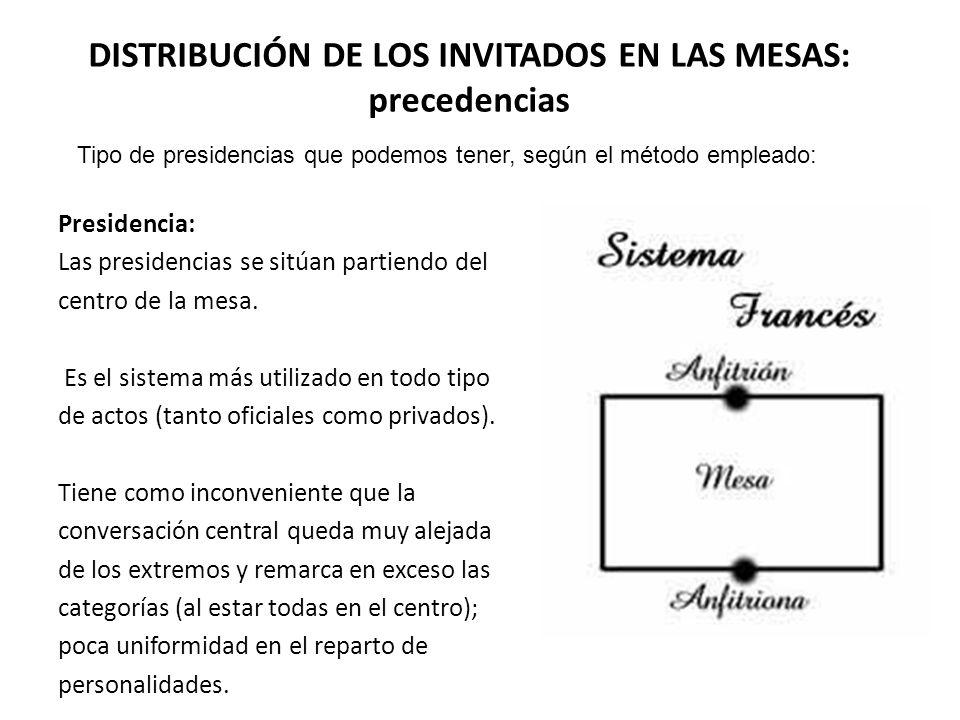 DISTRIBUCIÓN DE LOS INVITADOS EN LAS MESAS: precedencias Presidencia: Las presidencias se sitúan partiendo del centro de la mesa.