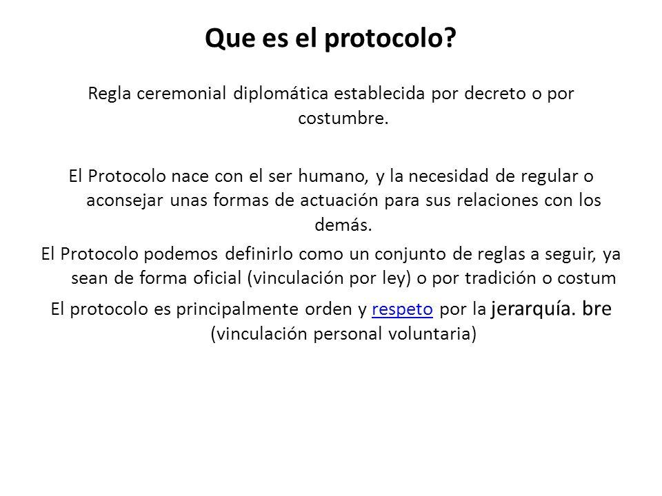 Que es el protocolo.Regla ceremonial diplomática establecida por decreto o por costumbre.