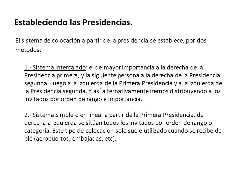 Estableciendo las Presidencias.