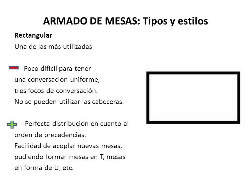 ARMADO DE MESAS: Tipos y estilos Rectangular Una de las más utilizadas Poco difícil para tener una conversación uniforme, tres focos de conversación.