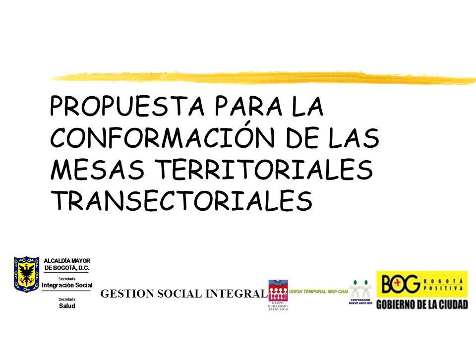PROPUESTA PARA LA CONFORMACIÓN DE LAS MESAS TERRITORIALES TRANSECTORIALES GESTION SOCIAL INTEGRAL
