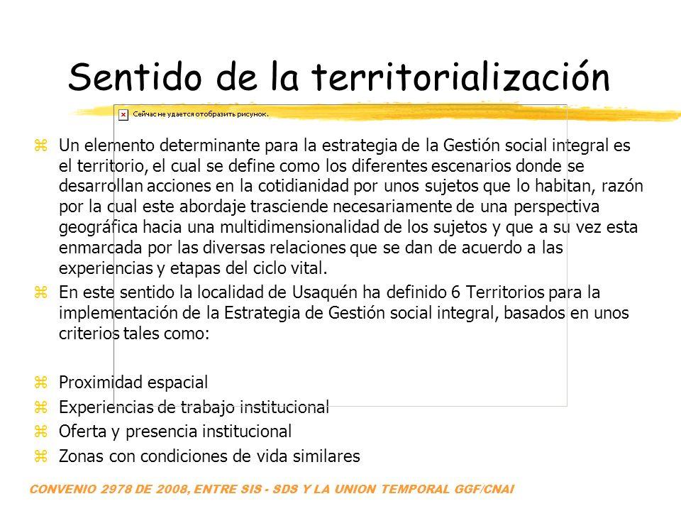 Sentido de la territorialización zUn elemento determinante para la estrategia de la Gestión social integral es el territorio, el cual se define como l
