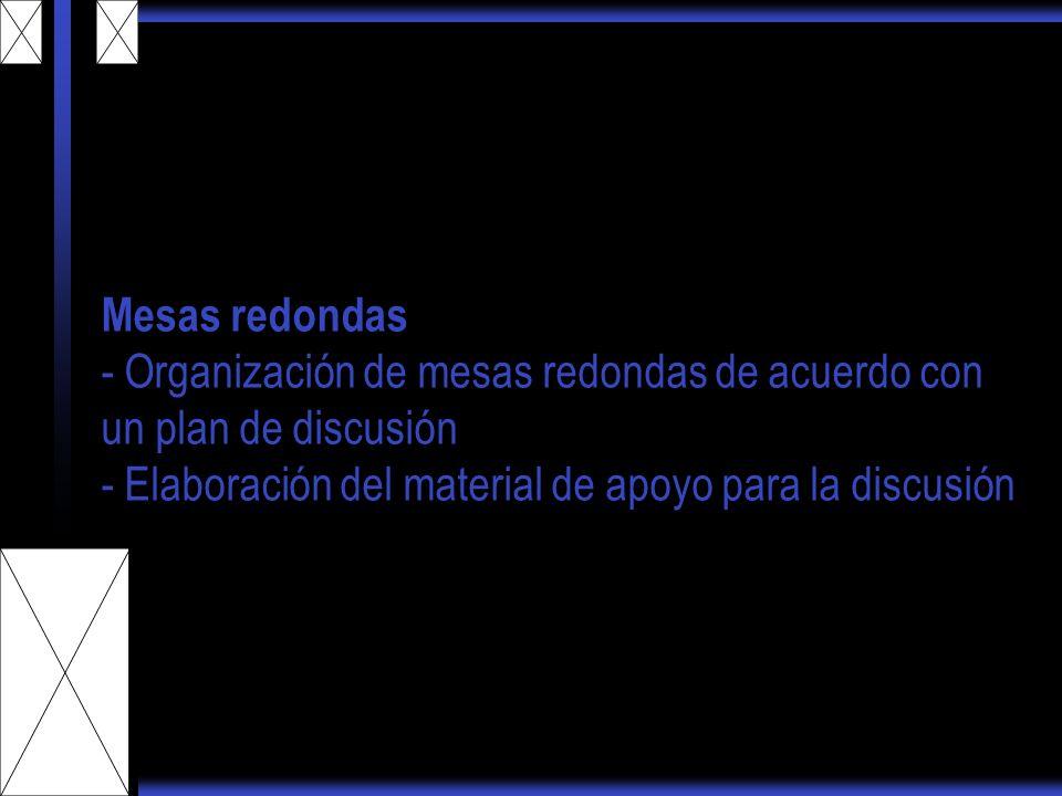 Mesas redondas - Organización de mesas redondas de acuerdo con un plan de discusión - Elaboración del material de apoyo para la discusión