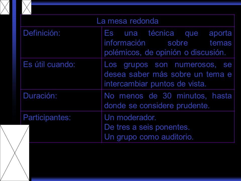 La mesa redonda Definición:Es una técnica que aporta información sobre temas polémicos, de opinión o discusión. Es útil cuando:Los grupos son numeroso