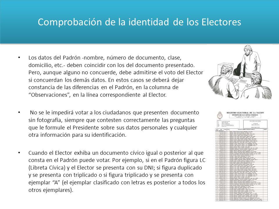 Comprobación de la identidad de los Electores Los datos del Padrón -nombre, número de documento, clase, domicilio, etc.- deben coincidir con los del d