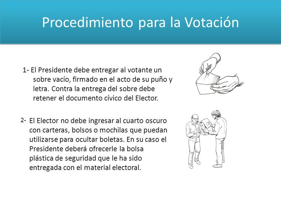 Procedimiento para la Votación 1- El Presidente debe entregar al votante un sobre vacío, firmado en el acto de su puño y letra. Contra la entrega del
