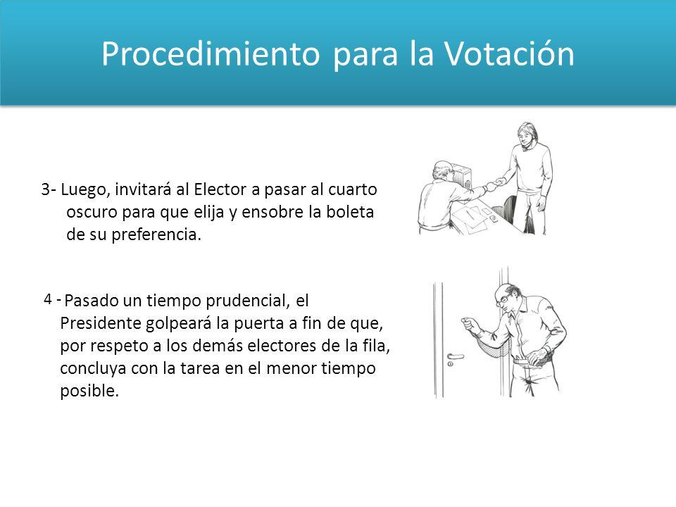 Procedimiento para la Votación 3- Luego, invitará al Elector a pasar al cuarto oscuro para que elija y ensobre la boleta de su preferencia. Pasado un