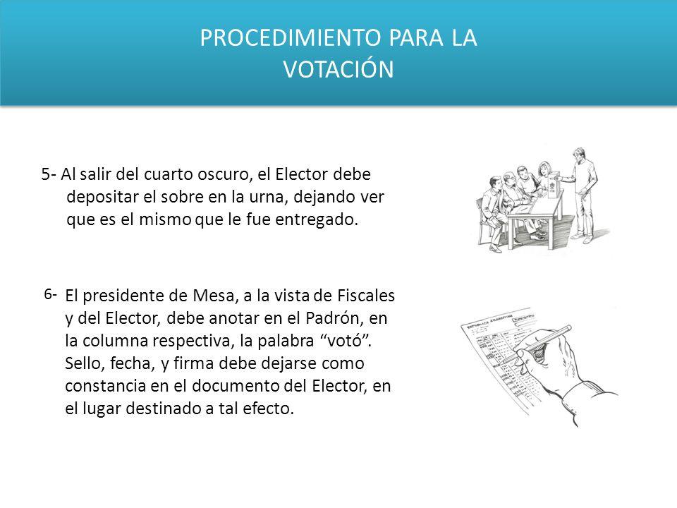 PROCEDIMIENTO PARA LA VOTACIÓN 5- Al salir del cuarto oscuro, el Elector debe depositar el sobre en la urna, dejando ver que es el mismo que le fue en