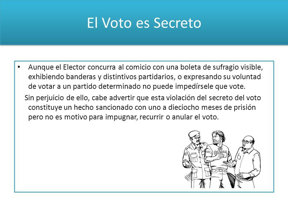 El Voto es Secreto Aunque el Elector concurra al comicio con una boleta de sufragio visible, exhibiendo banderas y distintivos partidarios, o expresan