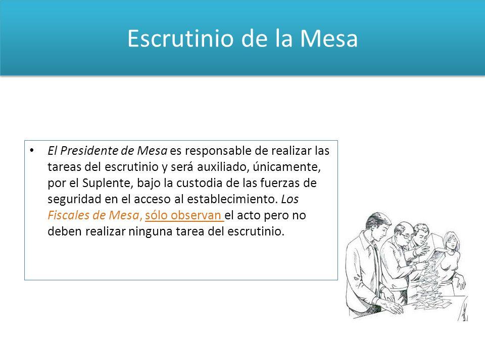 Escrutinio de la Mesa El Presidente de Mesa es responsable de realizar las tareas del escrutinio y será auxiliado, únicamente, por el Suplente, bajo l