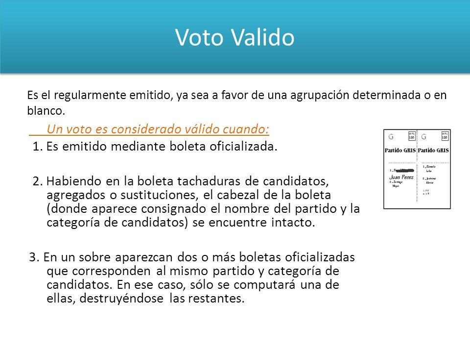 Voto Valido Un voto es considerado válido cuando: 1. Es emitido mediante boleta oficializada. 2. Habiendo en la boleta tachaduras de candidatos, agreg
