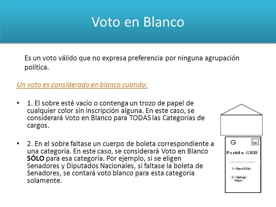 Voto en Blanco Un voto es considerado en blanco cuando: 1. El sobre esté vacío o contenga un trozo de papel de cualquier color sin inscripción alguna.