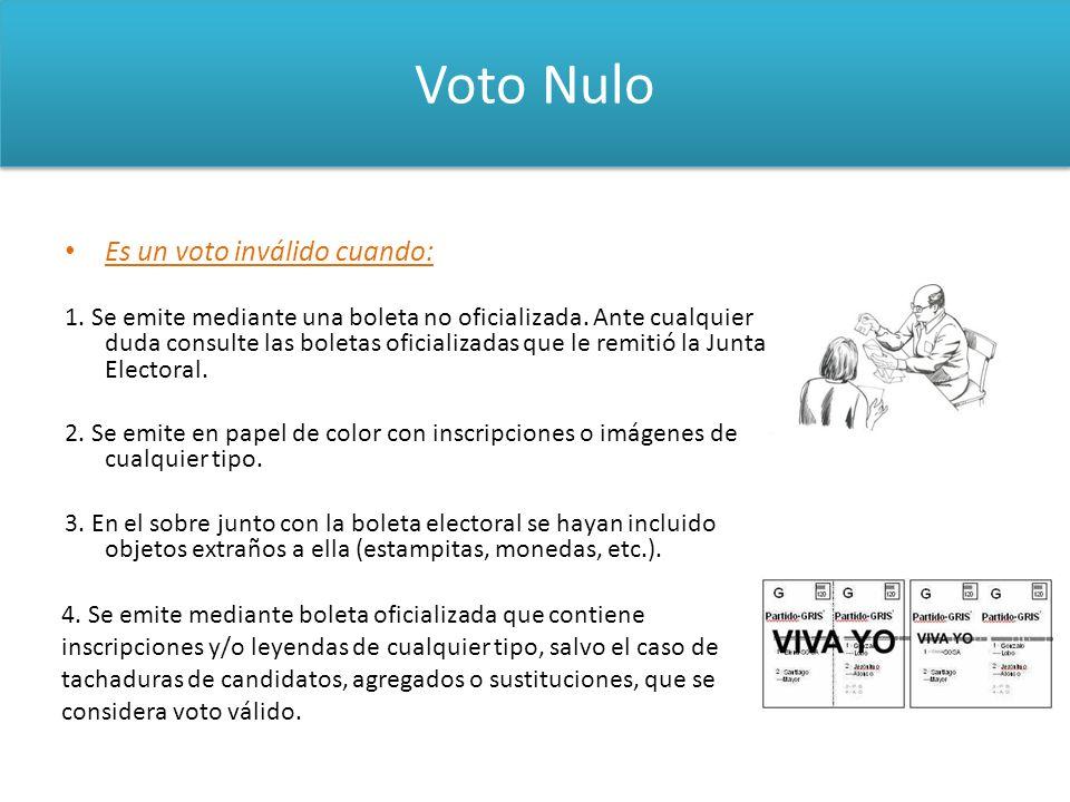 Voto Nulo Es un voto inválido cuando: 1. Se emite mediante una boleta no oficializada. Ante cualquier duda consulte las boletas oficializadas que le r