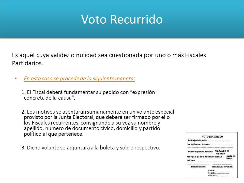 Voto Recurrido En este caso se procede de la siguiente manera: 1. El Fiscal deberá fundamentar su pedido con expresión concreta de la causa. 2. Los mo