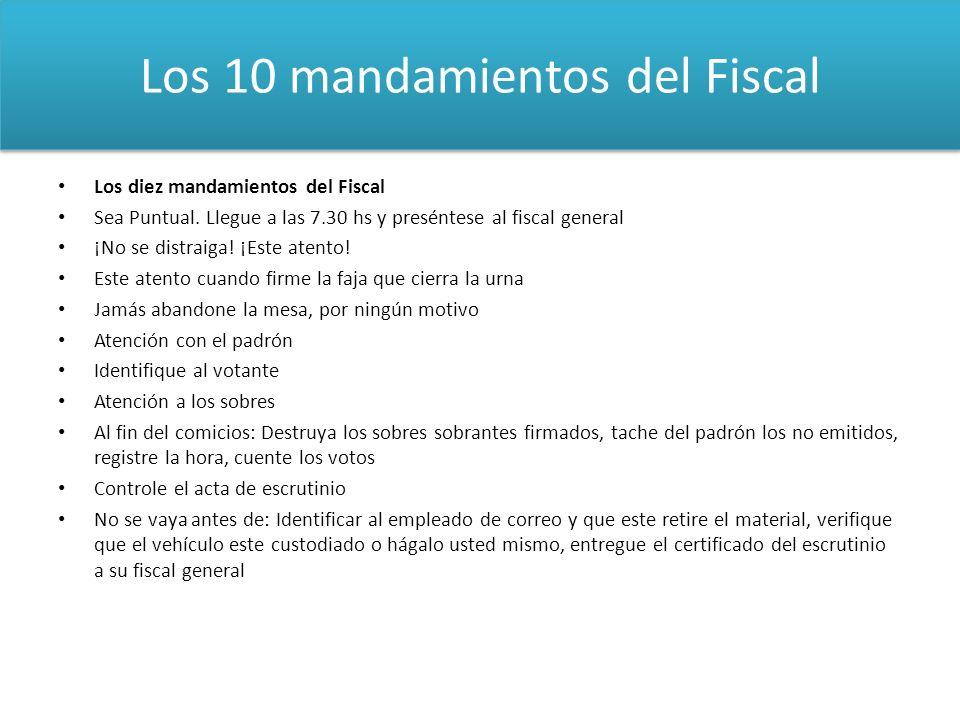 Los diez mandamientos del Fiscal Sea Puntual. Llegue a las 7.30 hs y preséntese al fiscal general ¡No se distraiga! ¡Este atento! Este atento cuando f