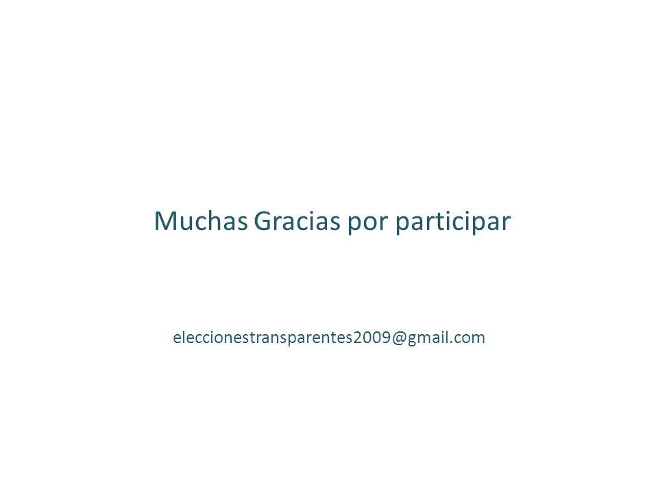 Muchas Gracias por participar eleccionestransparentes2009@gmail.com